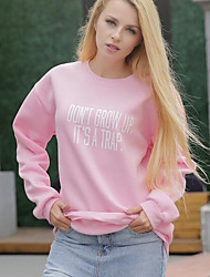 Women's Casual/Daily Simple Sweatshirt Solid Letter Hooded Stretchy Cotton Long Sleeve Spring