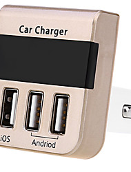 3 in 1 Car Cigarette Lighter Charger 3 Port 5V 2.1A Output Smart Triple USB Charger with Voltage and Current Display for Andriod Car Charger Car Kit