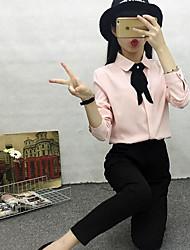 Feminino Blusa Casual Simples Outono,Sólido Algodão Decote Redondo Manga Longa Média