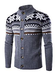 Men's Casual/Daily Regular Cardigan,Solid Print Round Neck Long Sleeves Silk Faux Fur Cotton Fall Winter Medium Micro-elastic