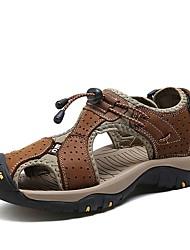 Herren Sandalen Komfort Sommer Echtes Leder Nappaleder Leder Wasser-Schuhe Normal Klettverschluss Flacher Absatz Braun Blau Khaki Flach