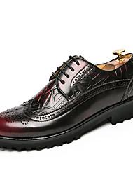 Masculino sapatos Couro Outono Inverno Sapatos formais Oxfords Caminhada Cadarço Para Casamento Casual Festas & Noite Preto Amarelo
