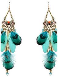 Mulheres Brincos Compridos Vintage Personalizado Oversized Moda Liga Pena Jóias Para Outro Palco Para Noite