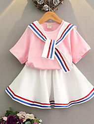 Girls' Stripe Sets,Cotton Summer Short Sleeve Clothing Set