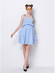 Gaine Robe Femme Sortie Mignon,Imprimé A Bretelles Au dessus du genou Sans Manches Polyester Eté Taille Normale Micro-élastique Moyen