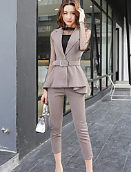 Women's Work Sexy Spring Fall Shirt Pant Suits,Solid Stand Sleeveless