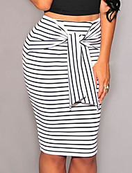 Women's Work Casual/Daily Above Knee Skirts,Simple Sexy Bodycon Bow Striped Color Block Summer