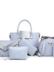 Damen Bag Sets PU Ganzjährig Normal Baguette Bag Reißverschluss Weiß Schwarz Grau Purpur