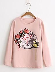T-shirt Da donna Per uscire Casual Semplice Romantico Moda città Estate Autunno,Tinta unita Fantasia geometrica Rotonda CotoneManica