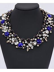 Femme Col Saphir Aigue-marine Émeraude Péridot Améthyste Multi-pierre Zircon cubique Imitation Saphir Imitation de diamantForme de Cercle