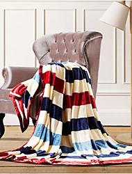 Coral fleece Stripe Cotton/Polyester Blankets