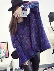 Mujer Regular Pullover Casual/Diario Simple,Estampado Escote Redondo Manga Larga Pelo de Conejo Algodón Lino Otoño Medio Microelástico