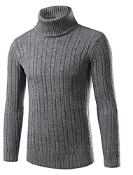 Men's Going out Casual/Daily Regular Pullover,Solid Turtleneck Long Sleeve Nylon Spandex Fall Winter Thick Stretchy