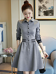 Women's Casual/Daily A Line Dress,Solid Shirt Collar Above Knee Long Sleeves Polyester Fall Mid Rise Inelastic Thin
