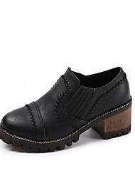 Для женщин Мокасины и Свитер Удобная обувь Полиуретан Весна Осень Повседневные Для праздника На низком каблуке Черный Желтый ЗеленыйМенее