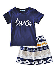 Girls' Floral Print Sets Cotton Summer Short Sleeve Clothing Set Two T Shirt Skirt Kids Girls Clothes