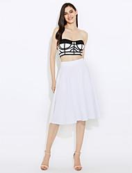 Women's Solid White / Black / Orange SkirtsCute Knee-length