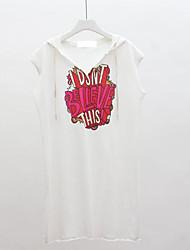 Damen Solide Druck Buchstabe Einfach Ausgehen T-shirt,Mit Kapuze Ärmellos Baumwolle