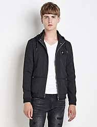 Men's Going out Casual/Daily Simple Street chic Fall Winter Jacket,Solid Hooded Long Sleeve Regular Nylon