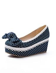 Women's Heels Comfort Nubuck leather Spring Summer Casual Light Blue Navy Blue 2in-2 3/4in