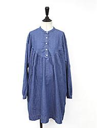 Toile de jean Robe Femme Décontracté / Quotidien Couleur Pleine Mao Au dessus du genou Manches Longues Coton Printemps Taille Normale