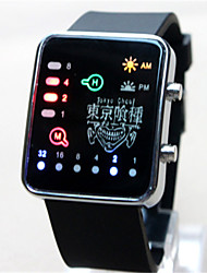 Men's Women's Digital Watch Digital Noctilucent Rubber Band Cartoon Black White