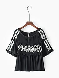 T-shirt Da donna Per uscire Casual Semplice Primavera Estate,Ricamato Rotonda Rayon Mezza manica Sottile Medio spessore