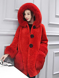 Women's Casual/Daily Simple Fall Winter Fur Coat,Solid Hooded Long Sleeve Long Lamb Fur