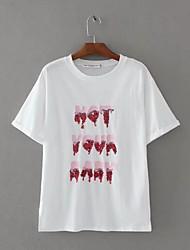 T-shirt Da donna Sport Per uscire Casual Semplice Romantico Attivo Estate Autunno,Ricamato Rotonda Cotone Manica cortaSottile Medio
