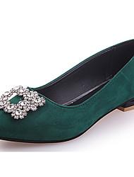 Women's Flats Comfort PU Summer Casual Beading Flat Heel Dark Green Ruby Beige Black Flat