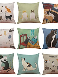 Set of 9 Japanese-Style Cute Cat Linen Cushion Cover Home Office Sofa Square Pillow Case Decorative Cushion Covers Pillowcases (18*18)