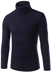 Men's Going out Casual/Daily Street chic Regular Pullover,Solid Shirt Collar Long Sleeve Rayon Polyester Fall Winter Thick Stretchy