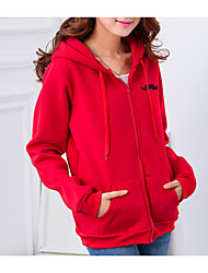Women's Casual/Daily Hoodie Solid Hooded Inelastic Polyester Long Sleeve Fall