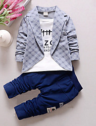 Boys' Plaid Patchwork Sets,Cotton Spring Fall Long Sleeve Clothing Set