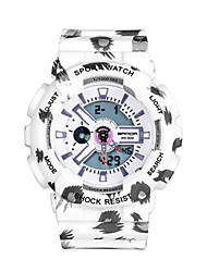 Men's Digital Watch Digital Calendar Water Resistant / Water Proof Alarm Stopwatch Noctilucent Rubber Band White Brown Rose