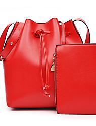 Damen Bag Sets PU Ganzjährig Normal Barrel Bag Schnürbar Schwarz Rote Rosa Purpur