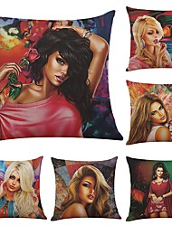 Set of 6 Fashion Girl  Linen Cushion Cover Home Office Sofa Square Pillow Case Decorative Cushion Covers Pillowcases (18*18Inch)