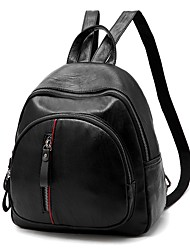 Women Bags Spring All Seasons PU Backpack with Ruffles for Event/Party Casual Formal Outdoor Office & Career Black Red