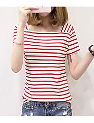 Damen Gestreift Einfach Ausgehen T-shirt,Bateau Kurzarm Polyester