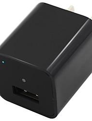 1080P 8 GB Internal Memory Mini Camera USB Wall Charger Adapter Loop Recording