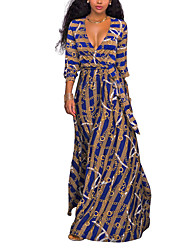 Women's Party Going out Club Sexy Vintage Street chic Venetian Slim Sheath Swing DressStriped Print V Neck Maxi Long SleeveSpring FallHigh Rise