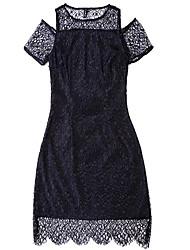 Chemisier Jupe Costumes Femme,Couleur Pleine Sortie Décontracté / Quotidien Chic de Rue Eté Manches Courtes Col Arrondi non élastique