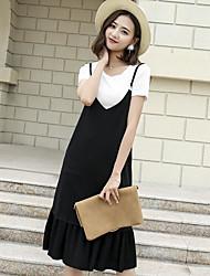 Women's Casual/Daily Trumpet/Mermaid Dress,Solid Strap Midi Sleeveless Cotton Summer Mid Rise Inelastic Medium