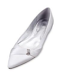 Mujer Zapatos de boda Confort Bailarina Satén Primavera Verano Boda Vestido Fiesta y Noche Pedrería Pajarita Tirantes Trenza Combinación