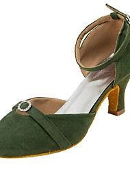 Women's Customized Modern Dance Shoes Suede Leather Outsole Latin/Ballroom/Salsa Dancing Shoes Rhinestone Green/Pink