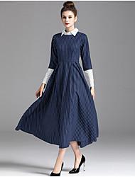 ZIYI Women's Casual/Daily Simple Sheath DressStriped Patchwork Shirt Collar Midi Long Sleeve Polyester Fall High Rise Micro-elastic Medium