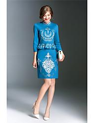 Fodero Vestito Da donna-Per uscire Casual Stoffe orientali Ricamato Colletto alla coreana Sopra il ginocchio Manica a 3/4Rayon Acrilico