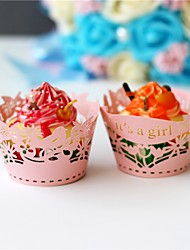 50pcs/lot It's a girl Design Laser Cut Cupcake Wrappers Baby Shower Birthday Decoration.