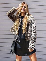 Mujer Simple Casual/Diario Invierno Abrigo de Piel,Escote Redondo Leopardo Manga Larga Piel Sintética Corto