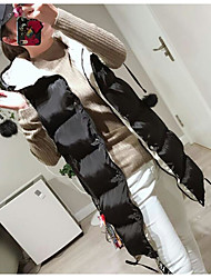 Women's Casual/Daily Simple Winter Vest,Solid Hooded Sleeveless Long Polyester